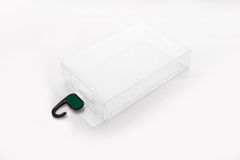 Box of transparent plastic on a white background Stock Photo