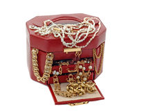 Box of treasure with gold jewelry Stock Photography
