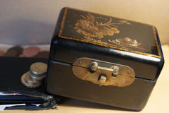 Box of Treasure. A Box of treasure keeping its contents and the wallet and money beneath it secure Stock Image