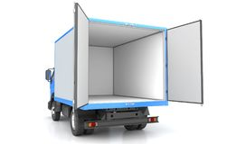 Box truck isolated on white. 3D illustration Royalty Free Stock Photo