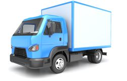 Box truck isolated on white. 3D illustration Stock Photos