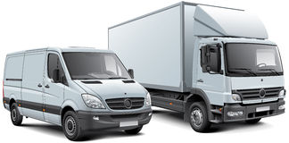 Box truck and light goods vehicle Stock Image