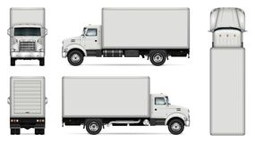 Box truck vector mockup. Truck vector mock-up. Isolated template of lorry on white background. Vehicle branding mockup. Side, front, back, top view. All elements stock illustration