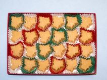 Box of twenty four Vermont organic maple sugar candies. In red and green paper liners, two dozen Royalty Free Stock Images