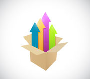 Box and up arrow illustration design Royalty Free Stock Image