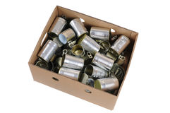 Box of used cans Royalty Free Stock Photos
