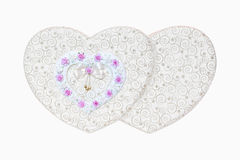 Box of valentine hearts  and roses flowers decorations on isolate Stock Images