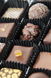 Box of various chocolate pralines Stock Photos
