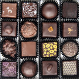 Box of various chocolate pralines stock photo