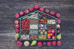 Box with various fruits, nuts and spices. Beautiful wooden box with various fruits, nuts and spices. Harvest concept Royalty Free Stock Photography