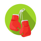 Box Vector Icon with Classic Red Boxing Gloves. Boxing icon. Classic red boxing gloves hanging on a nail on green circle flat vector illustration isolated on Royalty Free Stock Image