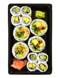 Box of vegetarian sushi on white background Royalty Free Stock Photography