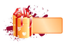 Box with vignette 2. A holiday text blank decorated with present box Stock Photos