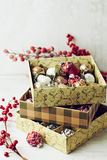 A box of vintage Christmas ornaments Royalty Free Stock Photography