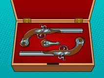 Vintage pistols pop art vector illustration Stock Photos