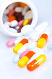 Box of vitamins. Vitamins and the box. Shallow depth of field Stock Images