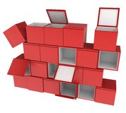 Box Wall. A Wall of 3d boxes, over white, isolated Stock Image