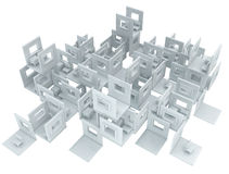 Box Wall Build. 3d, horizontal, over white, isolated Royalty Free Stock Images