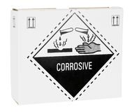 Box with warning for sulphuric acid Royalty Free Stock Photos
