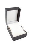 Box watch. Open black gift box isolated on white Royalty Free Stock Photo