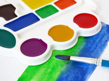 Box of watercolors and brush Royalty Free Stock Photos
