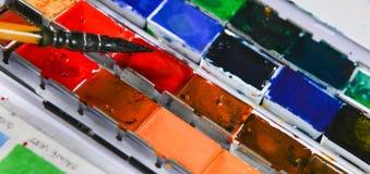 Box of watercolors Stock Image
