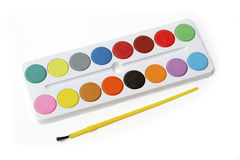 Box of Watercolors Picture. On white background stock images