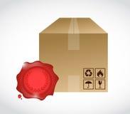 Box and wax seal illustration design Royalty Free Stock Photo