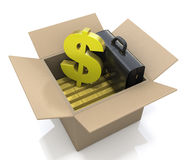 Box with wealth. At registration information related to business and finance Stock Photos