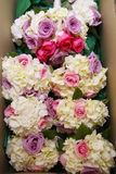Box of Wedding Flowers. Box full of wedding bouquets. Roses and white flowers Stock Photos