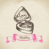 Box with wedding rings. Hand drawn illustration Stock Photos