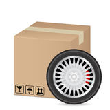 Box and wheel Royalty Free Stock Images