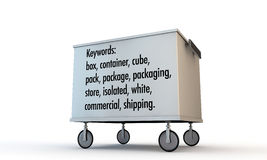Box with wheels and keywords Stock Photos