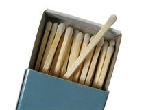 Box of white matches. Blue box of matches, isolated on white background royalty free stock photography