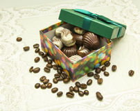 Box of white and milk chocolate in gift Royalty Free Stock Photos