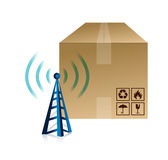 Box and wifi tower illustration design Royalty Free Stock Images