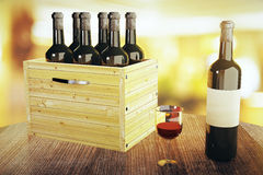 Box of wine bottles Stock Photo