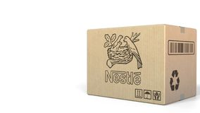 Box With Nestle Logo. Editorial 3D Rendering Royalty Free Stock Photos