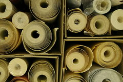 Box With Wallpaper Rolls Royalty Free Stock Image