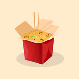 Box of wok noodles. Chinese food. Box of wok. Chinese food - cute cartoon colored picture. Vector illustration of fast food Stock Photo