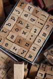 Box of wooden alphabet letters Royalty Free Stock Image