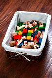 Box of wooden blocks Royalty Free Stock Images