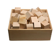 Box of wooden bricks isolated Royalty Free Stock Images