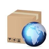 Box and world globe Stock Photos