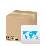 Box and world map vector illustration