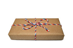 Box wrapped in brown eco paper isolated on white. Background royalty free stock images