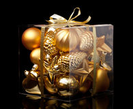 Box with xmas ball stock images