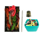 Box with yarn and colorful thread, needle and thimble Stock Image