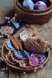 Box of yarn and crocheted flowers. Box of yarn and handmade crocheted flowers Stock Photography