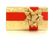 Box with yellow holiday bow Royalty Free Stock Images